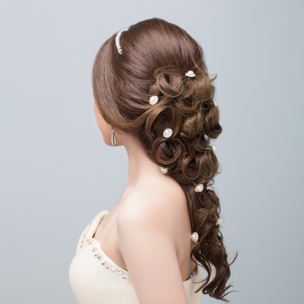 Woman with bridal hairstyle